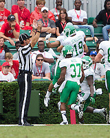 The Georgia Bulldogs played North Texas Mean Green at Sanford Stadium.  After North Texas tied the game at 21 early in the second half, the Georgia Bulldogs went on to score 24 unanswered points to win 45-21.  North Texas players celebrate a touchdown.