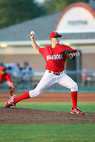 August 1 2008:  Pitcher Josh Hester of the Batavia Muckdogs, Class-A affiliate of the St. Louis Cardinals, during a game at Dwyer Stadium in Batavia, NY.  Photo by:  Mike Janes/Four Seam Images