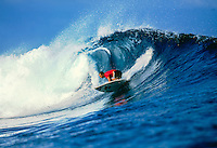 Layne Beachley (AUS) surfing at Teahupoo Tahiti. circa 2000 Photo:joliphotos.com