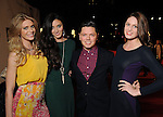 Designer David Peck with models Alyssa Pasek, Katelyn Denney and Marisa McPhaul on the red carpet at Fashion Houston at the Wortham Theater Thursday Nov.14,2013.  (Dave Rossman photo)