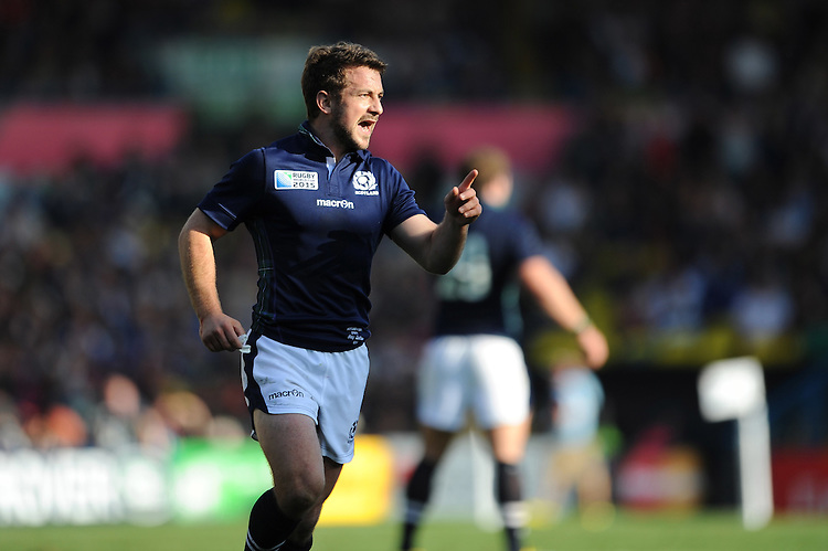 Greig Laidlaw of Scotland during Match 18 of the Rugby World Cup 2015 between Scotland and USA - 27/09/2015 - Elland Road, Leeds<br /> Mandatory Credit: Rob Munro/Stewart Communications