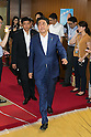 Japanese Prime Minister Shinzo Abe, leader of the Liberal Democratic Party (LDP) leaves the party headquarters on Sunday, July 11, 2016, Tokyo, Japan. The LDP, along with its junior coalition partner Komeito, claimed victory taking at least 63 of the 121-seats available in the House of Councillors elections. (Photo by Rodrigo Reyes Marin/AFLO)