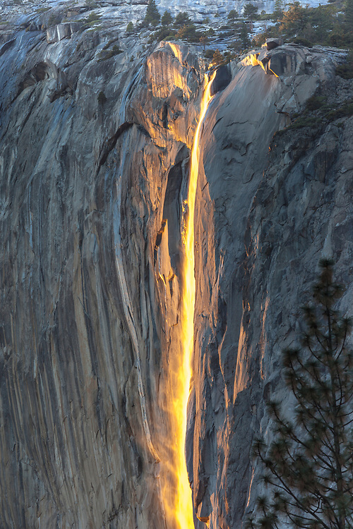 Above Yosemite Valley, for a short time every February, the sunset hits the water at Horsetail Falls just right, making the waterfall look like it's on fire.
