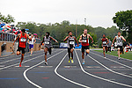 28 MAY 2016: Hugh Pegan of Occidental (far left) crosses the finish line to win the men's 200 meter race during the Division III Men's and Women's Outdoor Track & Field Championship held at Walston Hoover Stadium on the Wartburg College campus in Waverly, IA. Pegan won the race with a time of 21.59. Conrad Schmidt/NCAA Photos