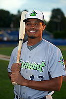 Vermont Lake Monsters Richie Martin (12) poses for a photo before the second game of a doubleheader against the Batavia Muckdogs August 11, 2015 at Dwyer Stadium in Batavia, New York.  Batavia defeated Vermont 1-0.  (Mike Janes/Four Seam Images)