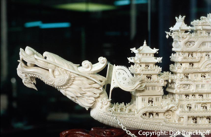 Exponat im Haus der Familie Chen, Elfenbein-Schnitzerei, Kanton, China