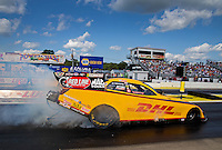 Aug 15, 2014; Brainerd, MN, USA; NHRA funny car driver Del Worsham during qualifying for the Lucas Oil Nationals at Brainerd International Raceway. Mandatory Credit: Mark J. Rebilas-