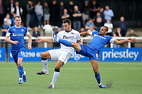 Curtis Weston of Chesterfield stretches to reach the ball as Bromley's Josh Rees looks on during Bromley vs Chesterfield, Vanarama National League Football at the H2T Group Stadium on 7th September 2019