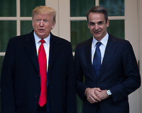 United States President Donald J. Trump, left, and Prime Minister of Greece Kyriakos Mitsotakis, right, stand for photographs outside of the White House in Washington, D.C., U.S., on Tuesday, January 7, 2020.<br /> <br /> Credit: Stefani Reynolds / CNP/AdMedia