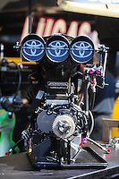 May 5, 2012; Commerce, GA, USA: Detailed view of the injector scoop of an NHRA top fuel dragster in the pits during qualifying for the Southern Nationals at Atlanta Dragway. Mandatory Credit: Mark J. Rebilas-