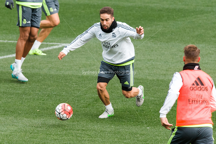 Melbourne, 14 July 2015 - Daniel Carvajal at an open training session of Real Madrid before their match against AS Roma at the 2015 International Champions Cup in Melbourne, Australia. Photo Sydney Low/AsteriskImages.com