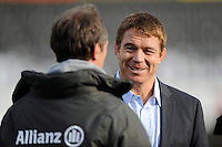 Former Springbok and Saracens player John Smit talks with Brendan Venter, Saracens Technical Director, before the Sanlam Private Investments Shield match between Saracens and the Cell C Sharks at Allianz Park on Saturday 25th January 2014 (Photo by Rob Munro)