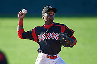 Batavia Muckdogs shortstop Anfernee Seymour (3) throws to first during the first game of a doubleheader against the Mahoning Valley Scrappers on July 2, 2015 at Dwyer Stadium in Batavia, New York.  Batavia defeated Mahoning Valley 4-1.  (Mike Janes/Four Seam Images)