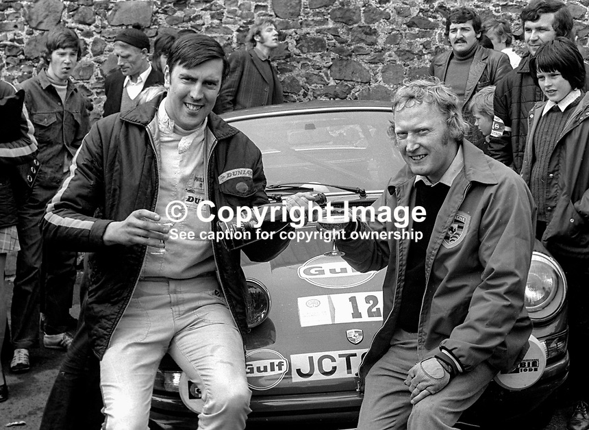 Jack Tordoff, right, and co-driver, Phil Short, UK, celebrate winning 1973 Circuit of Ireland Motor Rally. 24th April 1973. 197304240217d<br /> <br /> Copyright Image from Victor Patterson, 54 Dorchester Park, Belfast, UK, BT9 6RJ<br /> <br /> t1: +44 28 9066 1296 (from Rep of Ireland 048 9066 1296)<br /> t2: +44 28 9002 2446 (from Rep of Ireland 048 9002 2446)<br /> m: +44 7802 353836<br /> <br /> e1: victorpatterson@me.com<br /> e2: victorpatterson@gmail.com<br /> <br /> The use of my copyright images is subject to my Terms &amp; Conditions.<br /> <br /> It is IMPORTANT that you familiarise yourself with them. They are available on my website at www.victorpatterson.com.<br /> <br /> None of my copyright images may be used on a website unless they are visibly watermarked, i.e. &copy; Victor Patterson within the body of the visible image. Metadata denoting my copyright must NOT be deleted. <br /> <br /> Web use (maximum size - 300 kb) is extra at currently recommended NUJ rates.