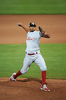 Glendale Desert Dogs pitcher Jesen Therrien (29) delivers a pitch during an Arizona Fall League game against the Peoria Javelinas on October 19, 2015 at Peoria Stadium in Peoria, Arizona.  Glendale defeated Peoria 4-2.  (Mike Janes/Four Seam Images)