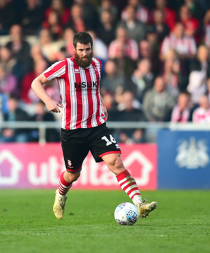 Lincoln City's Michael Bostwick<br /> <br /> Photographer Andrew Vaughan/CameraSport<br /> <br /> The EFL Sky Bet League Two - Lincoln City v Macclesfield Town - Saturday 30th March 2019 - Sincil Bank - Lincoln<br /> <br /> World Copyright © 2019 CameraSport. All rights reserved. 43 Linden Ave. Countesthorpe. Leicester. England. LE8 5PG - Tel: +44 (0) 116 277 4147 - admin@camerasport.com - www.camerasport.com
