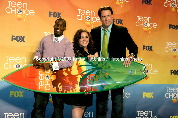 Elijah Kelley, Nikki Blonsky, and John Travolta.Teen Choice 2007.Gibson Amphitheatre.Universal Studios.Los Angeles,  CA.Aug 26, 2007.©2007 Kathy Hutchins / Hutchins Photo....