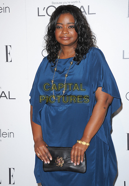 Octavia Spencer.18th Annual ELLE Women in Hollywood celebration held at The Four Seasons in Beverly Hills, California, USA..October 17th, 2011.half length dress blue black clutch bag.CAP/RKE/DVS.©DVS/RockinExposures/Capital Pictures.
