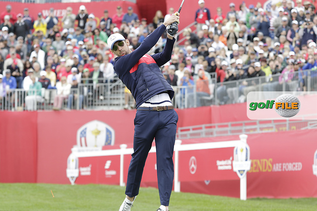 Olympic swimmer Michael Phelps playing in Match 2 of the Ryder Cup Celebrity Matches during Tuesday's Practice Day of the 41st RyderCup held at Hazeltine National Golf Club, Chaska, Minnesota, USA. 27th September 2016.<br /> Picture: Eoin Clarke | Golffile<br /> <br /> <br /> All photos usage must carry mandatory copyright credit (&copy; Golffile | Eoin Clarke)