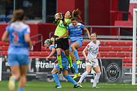 Bridgeview, IL - Sunday August 20, 2017: Nicole Barnhart, Sofia Huerta during a regular season National Women's Soccer League (NWSL) match between the Chicago Red Stars and FC Kansas City at Toyota Park.