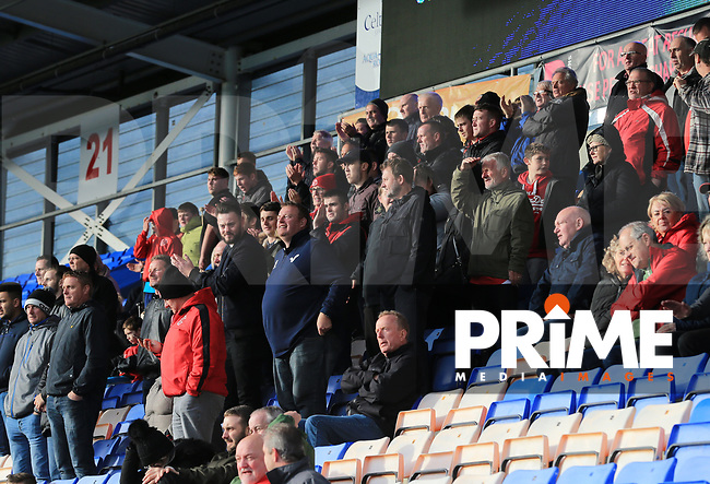 Travelling Fleetwood fans during the Sky Bet League 1 match between Shrewsbury Town and Fleetwood Town at Greenhous Meadow, Shrewsbury, England on 21 October 2017. Photo by Leila Coker / PRiME Media Images.