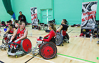 15 AUG 2011 - LEEDS, GBR - Canada's Zak Madell and Miranda Biletski talk before the wheelchair rugby exhibition match against Great Britain (PHOTO (C) NIGEL FARROW)