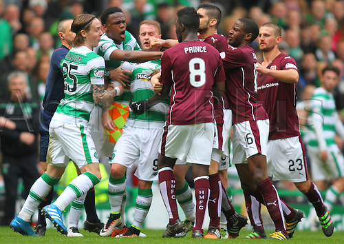 02.04.2016. Celtic Park, Glasgow, Scotland. Scottish Football Premiership Celtic versus Hearts. Celtic and Hearts players are involved in an argument after the challenge