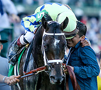 LOUISVILLE, KY - MAY 06: John Velazquez hugs Groom Eliasin Beltran after winning the Kentucky Derby aboard Always Dreaming #5 on Kentucky Derby Day at Churchill Downs on May 6, 2017 in Louisville, Kentucky. (Photo by Candice Chavez/Eclipse Sportswire/Getty Images)