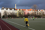Turkiyemspor Berlin 3 BSC Rehberge 0, 22/11/2015. Willy-Kressmann-Stadion, Berlin Landesliga. Action from the first-half at Willy-Kressmann-Stadion as Turkiyemspor Berlin (red) play BSC Rehberge in a Berlin Landesliga fixture which they won 3-0. The club was formed in 1978 to represent members of Berlin's large Turkish community and achieved several promotions and local cup wins throughout the first 15 years of their existence. Since then, financial problems have led to successive relegations and they now find themselves in the city's second division. Photo by Colin McPherson.