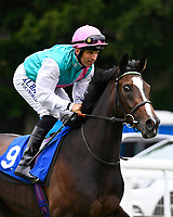 Ristretto ridden by Pat Dobbs goes down to the start during Ladies Evening Racing at Salisbury Racecourse on 15th July 2017