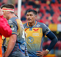 29th February 2020; Thomond Park, Limerick, Munster, Ireland; Guinness Pro 14 Rugby, Munster versus Scarlets; Sam Lousi of Scarlets after the altercation which will see him shown the red card
