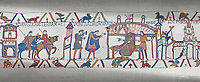 Bayeux Tapestry scene 25: Harold reports to Edward thr Confessor about his mission to see Williams in Normandy.
