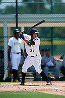 GCL Pirates left fielder Fernando Villegas (30) at bat during a game against the GCL Tigers West on August 13, 2018 at Pirate City Complex in Bradenton, Florida.  GCL Tigers West defeated GCL Pirates 5-1.  (Mike Janes/Four Seam Images)