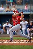 Palm Beach Cardinals Luken Baker (47) bats during a Florida State League game against the Charlotte Stone Crabs on April 14, 2019 at Charlotte Sports Park in Port Charlotte, Florida.  Palm Beach defeated Charlotte 5-3.  (Mike Janes/Four Seam Images)