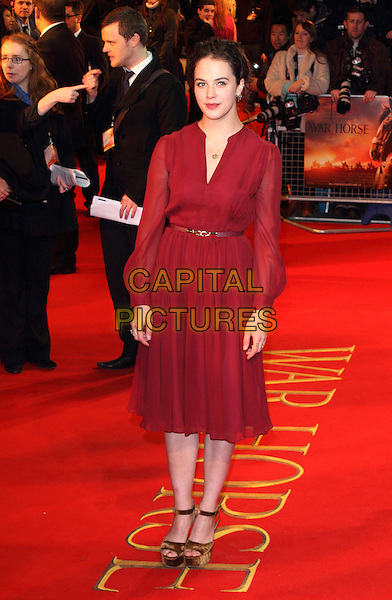 Jessica Brown Findlay.UK Premiere of 'War Horse' at the Odeon, Leicester Square, London, England..January 8th 2012.full length dress red maroon burgundy belt gold platform shoes sheer sleeves.CAP/ROS.©Steve Ross/Capital Pictures