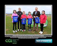 Wicklow Golf Club Girls With Kate Wright CGI and Brendan Byrne Bank of Ireland.<br /> Junior golfers from across Leinster practicing their skills at the regional finals of the Dubai Duty Free Irish Open Skills Challenge supported by Bank of Ireland at the Heritage Golf Club, Killinard, Co Laois. 2/04/2016.<br /> Picture: Golffile | Fran Caffrey<br /> <br /> <br /> All photo usage must carry mandatory copyright credit (© Golffile | Fran Caffrey)