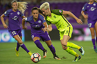 Orlando, FL - Thursday September 07, 2017: Camila Martins Pereira, Megan Rapinoe during a regular season National Women's Soccer League (NWSL) match between the Orlando Pride and the Seattle Reign FC at Orlando City Stadium.