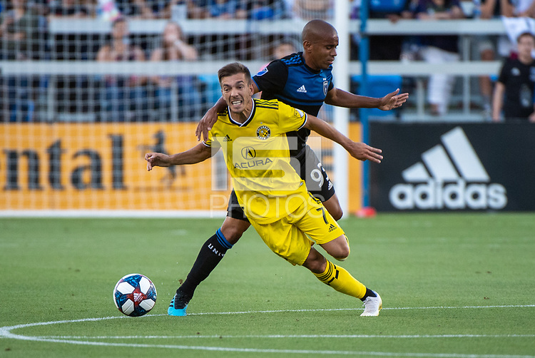 San Jose, CA - Saturday August 03, 2019: Pedro Santos #7, Judson #93 in a Major League Soccer (MLS) match between the San Jose Earthquakes and the Columbus Crew at Avaya Stadium.