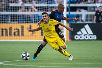 San Jose, CA - Saturday August 03, 2019: Pedro Santos #7, Judson #93 in a Major League Soccer (MLS) match between the San Jose Earthquakes and the Columbus Crew at Avaya Stadium.