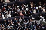 Engeland, London, 27 juli 2012.Olympische Spelen London.De openingsceremonie van de Olympische Spelen in London 2012.Elizabeth koningin van Engeland opent de spelen