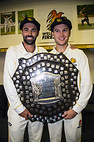 Troy Johnson and Lauchie Johns.The Wellington Firebirds celebrate winning the 2019-2020 Plunket Shield at Basin Reserve in Wellington, New Zealand on Thursday, 19 March 2020. Photo: Dave Lintott / lintottphoto.co.nz