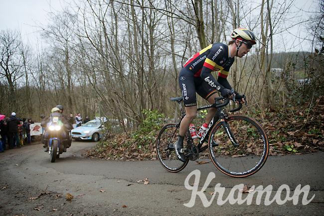 Belgian Champion Jens Debusschere (BEL/Lotto-Soudal) up the very steep Baneberg<br /> <br /> 77th Gent-Wevelgem 2015