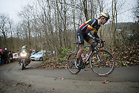 Belgian Champion Jens Debusschere (BEL/Lotto-Soudal) up the very steep Baneberg<br /> <br /> 77th Gent-Wevelgem 2015