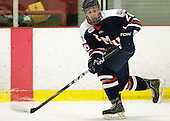 Cody Cartier (RMU - 26) - The Bentley University Falcons defeated the visiting Robert Morris University Colonials 2-1 on Friday, January 6, 2012, at the John A. Ryan Skating Arena in Watertown, Massachusetts.