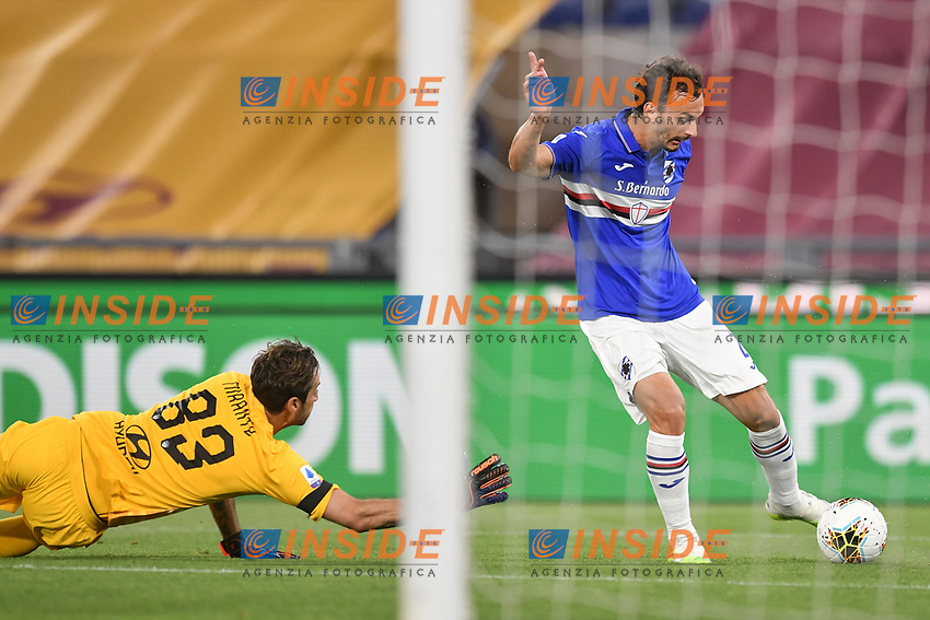 Manolo Gabbiadini of Sampdoria scores a goal <br /> during the Serie A football match between AS Roma and UC Sampdoria at Olimpico stadium in Rome ( Italy ), June 24th, 2020. Play resumes behind closed doors following the outbreak of the coronavirus disease. <br /> Photo Andrea Staccioli / Insidefoto