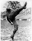 West Point, New York - Undated file photo -- Cadet Dwight D. Eisenhower kicking a football at West Point in 1912..Credit: U.S. Army photo / CNP