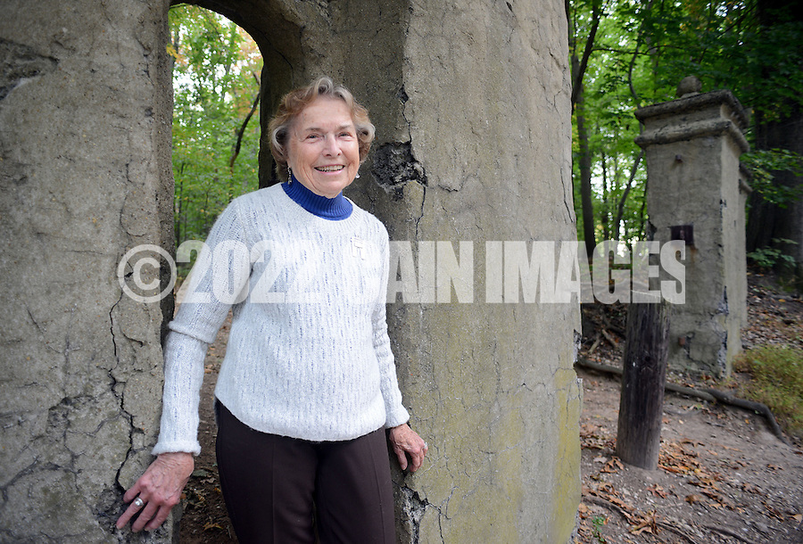 DOYLESTOWN, PA - SEPTEMBER 29: Nancy Bergere speaks about the restoration project of the Fonthill Gates on the grounds of Fonthill September 29, 2014 in Doylestown, Pennsylvania. (Photo by William Thomas Cain/Cain Images)