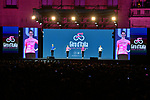 The leaders jerseys presented on stage at the Teams Presentation held in Piazza Maggiore Bologna before the start of the 2019 Giro d'Italia, Bologna, Italy. 9th May 2019.<br /> Picture: Massimo Paolone/LaPresse | Cyclefile<br /> <br /> All photos usage must carry mandatory copyright credit (&copy; Cyclefile | Massimo Paolone/LaPresse)