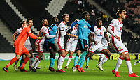 Fleetwood Town and Milton Keynes Dons' players jostling for position<br /> <br /> Photographer Andrew Kearns/CameraSport<br /> <br /> The EFL Sky Bet League One - Milton Keynes Dons v Fleetwood Town - Saturday 11th November 2017 - Stadium MK - Milton Keynes<br /> <br /> World Copyright &copy; 2017 CameraSport. All rights reserved. 43 Linden Ave. Countesthorpe. Leicester. England. LE8 5PG - Tel: +44 (0) 116 277 4147 - admin@camerasport.com - www.camerasport.com