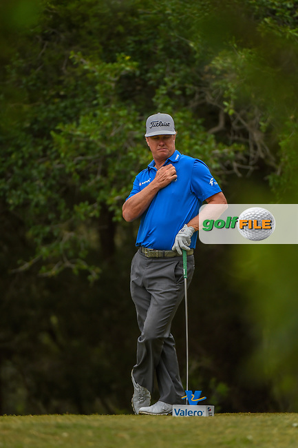 Charley Hoffman (USA) waits to tee off on 14 during Round 3 of the Valero Texas Open, AT&T Oaks Course, TPC San Antonio, San Antonio, Texas, USA. 4/21/2018.<br /> Picture: Golffile | Ken Murray<br /> <br /> <br /> All photo usage must carry mandatory copyright credit (© Golffile | Ken Murray)